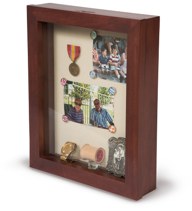 wall mounted memory box - sliding acrylic pane - senior care room identifier - elder care shadow box