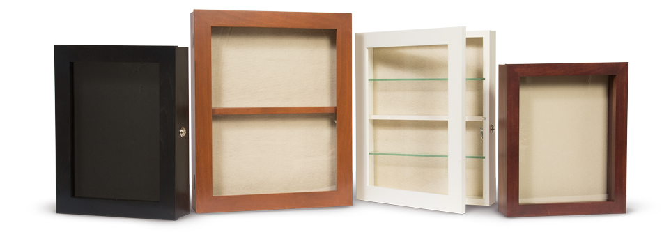 locking shadow boxes for assisted living enviornments - assisted living facility decor